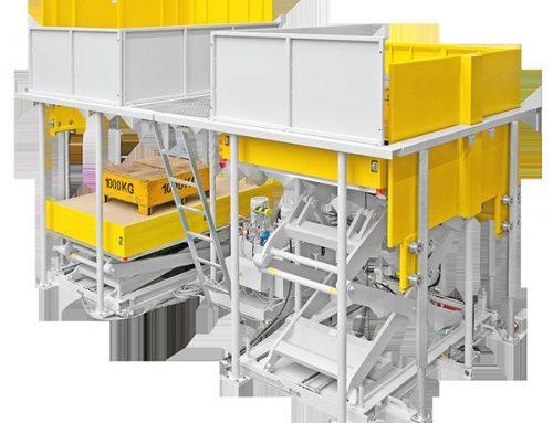 Abstapelanlage mit versenkbaren Geländern für die Automobilindustrie